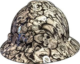 Hard Hat MSA V-Gard Full Brim Custom Woodgrain Insanity Skulls