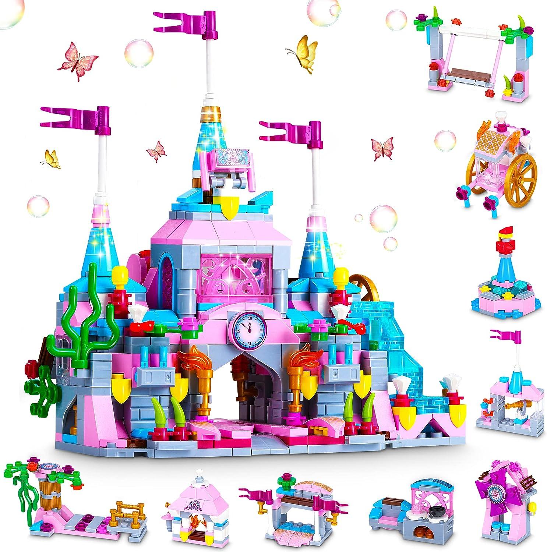 COOLJOY 569PCS Bloques Magneticos, Juguetes Construcciones Magneticas para Niños, Combina 12 Modelos Princesa y Principe con un Total de 25 Estilos de Juguetes de Construcción de Castillos