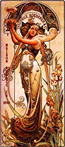 1864 Champagne The Ophile Roederer & Co. Beautiful Woman Classic French Nouveau by artist Alphonse Mucha Vintage France Travel Advertisement Picture Poster Print. Picture measures 5 x 13.5 inches.