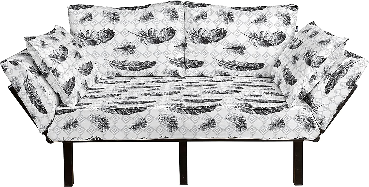 Ambesonne Feather Futon Couch specialty shop New color Grunge Inner on Geometric Plumage