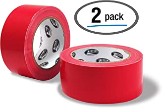 Red Duct Tape, 2 Pack, Heavy Duty Duct Tape by Better Office Products, 7.3mil, 1.88 Inch x 30 Yards Per Roll, Easy Tear, 2 Pack, Red