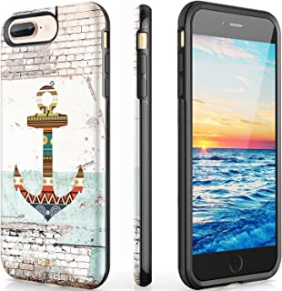 VeaYook Anchor Case for iPhone 8 Plus iPhone 7 Plus iPhone 6/6S Plus with Ring Kickstand Slim Dual Layer Anti-Scratch Anti-Finger High Impact Strong Durable Shockproof Absorbing (Clasicc Anchor)