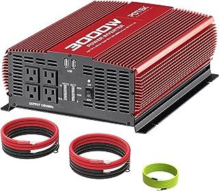 POTEK 3000W Power Inverter 12V DC to 110V AC Car Converter 4 AC Outlets with 2 USB Ports