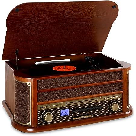 Auna Belle Epoque 1908 - Impianto Stereo retrò, Giradischi, Bluetooth, USB, Lettore CD e Cassette, Altoparlanti Stereo, Funzione di Registrazione, Marrone