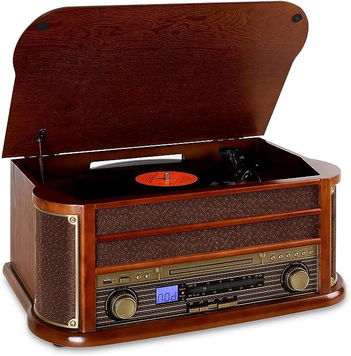 Impianto stereo retrò, giradischi, bluetooth, usb, lettore cd e cassette, altoparlanti stereo 4260365794297