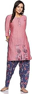 CEEMAYA Women's Cotton Kurta with Rayon Patiyala Set (Pink)