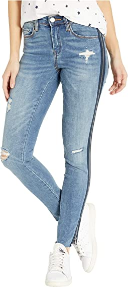 The Bond High-Rise Skinny in Jersey Girls w/ Stripe Zipper