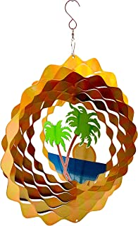 Dundee Deco W2214 Wind Spinner in Gift Box - 3D Hanging Indoor Outdoor Yard Garden Decoration - Palm Trees Beach Sun - Yellow Orange Green Blue - Unique Gift Idea for Men Women, Souvenir, Present