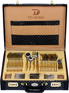TD HOME 86-piece Cutlery Sets Stainless Steel Flatware Set Service for 12 with Leather Box Case, Mirror Polish Silverware ...