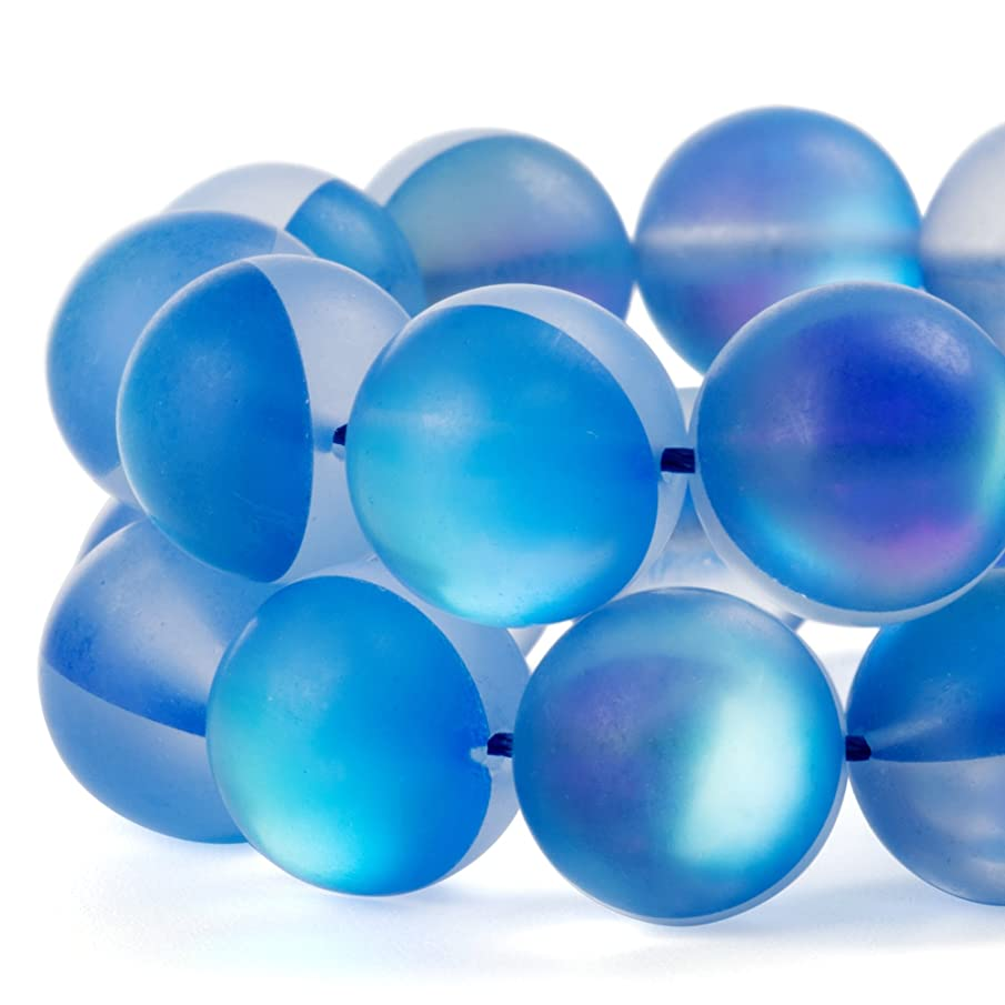 RUBYCA 6mm Round Moonstone Matte Crystal Glass Beads Aura for Jewelry Making Blue, 1 Strand