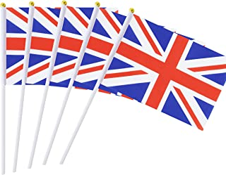 25 Pack Hand Held Small Mini Flag British Flag Untied Kingdom UK Stick Flag Round Top National Country Flags,Party Decorations Supplies for Parades,World Cup,Festival Events,International Festival