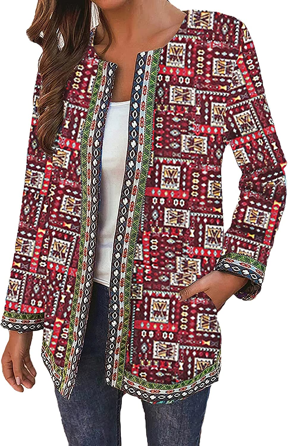 Women's Vintage Printed Open Front Lightweight Long Sleeve Cardigan Casual Pockets Jacket Coat for Women