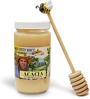 Goshen Honey Amish Extremely Raw ACACIA Honey - 100% Natural Domestic Honey with Health Benefits - Unfiltered Unprocessed Unheated - OU Kosher Certified   1 Lb GlassJar