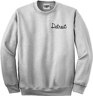 FASHIONISGREAT Detroit Michigan Script Chest Crewneck Sweatshirt