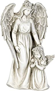 Exhart Angel Garden Statue with Little Girl – Light Up Resin Angel Figurines Feature Battery-Powered LED Lights Timer - Angel Resin Statues, Memorial Decoration 8