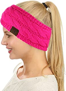 c3a85e8c959 C.C Soft Stretch Winter Warm Cable Knit Fuzzy Lined Ear Warmer Headband