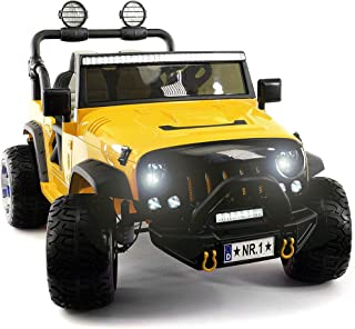 2020 Two (2) Seater Ride On Kids Car Truck w/ Remote   Large 12V Battery Licensed Kid Car to Drive 3 Speeds, Leather Seat, MP3 Music by Bluetooth, FM Radio, Rubber Tires (Yellow, Two Seater)