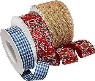 Morex Ribbon Bandana Pride Ribbon 3-Pack, Mixed Widths by 57 Yards Total, Red/White/Blue