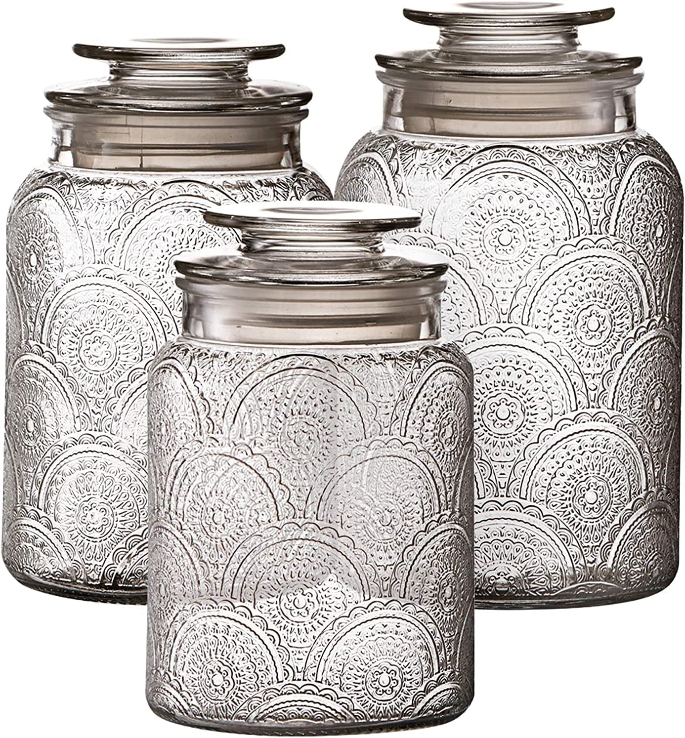 3pc Glass Canisters Set for Kitchen with Max 74% OFF - Lids Max 44% OFF Counter Airtight