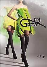 Gatta Girl Up 19 - gemusterte halbtransparente Strumpfhose mit Strapsedesign - Größe 4-L - Schwarz-Rot