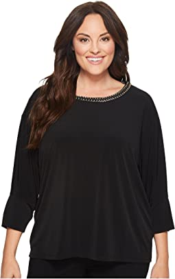 Calvin Klein Plus - Plus Size Long Sleeve Top w/ Gold Chain
