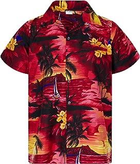 King Kameha Hawaiian Shirt for Men Funky Casual Button Down Very Loud Shortsleeve Unisex Surf
