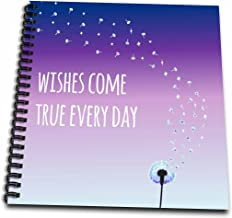3dRose db_151375_1 Wishes Come True Every Day Inspirational Motivational Sayings Motivation Purple Dandelion Wish Drawing Book, 8 by 8-Inch