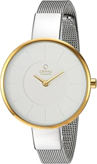 Obaku Women's Quartz Stainless Steel Dress Watch, Color:Silver-Toned (Model: V149LXAIMC)