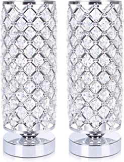 Hong-in Crystal Table Lamp Set of 2, Nightstand Desk Lamp Decorative Room, Night Light Lamp, Table Lamps for Bedroom, Living Room, Kitchen, Dining Room, 2 Pack (Silver)