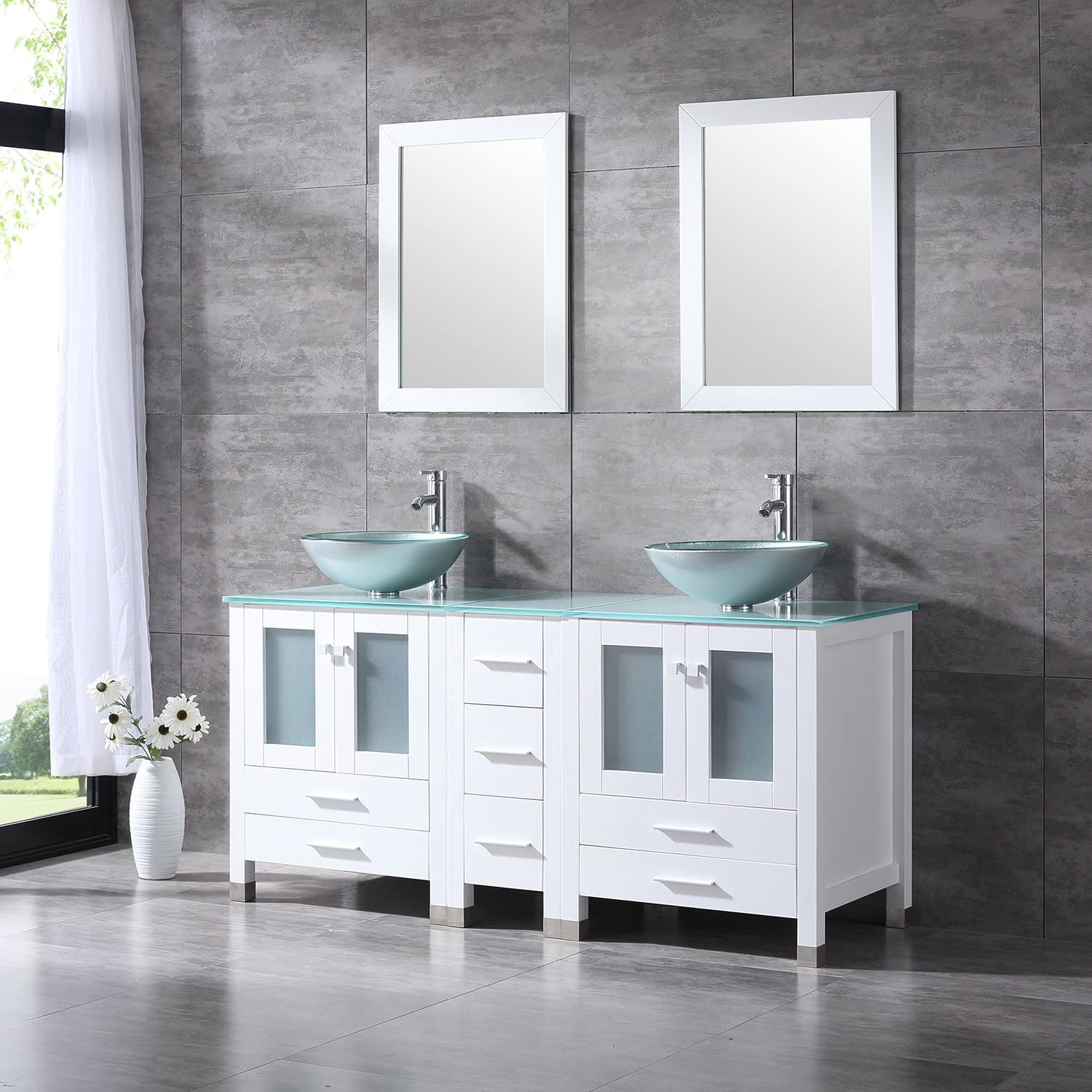 Buy Walcut 60inch White Bathroom Vanity With Sink Combo Solid Mdf Cabinet With Silver Green Double Glass Vessel Countertop Sink And Faucet Pop Up Drain Combo Double Mirror 60 Online In