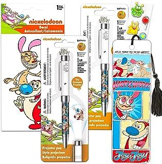 Ren & Stimpy Nickelodeon Merchandise Set -- Bundle Includes 2 Ren and Stimpy Projector Pens, Bookmark, Decal Sticker, and Bonus Stickers (Licensed Ren and Stimpy Merch)
