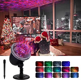 Projector Lights for Christmas Ocean Wave Night Light Water Wave Decoration Outdoor Indoor LED Projector Lamp Waterproof Ripple RGBW 3D Water Effect Remote Control for Holiday
