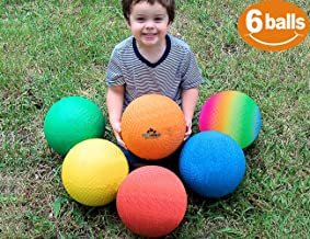 ToysOpoly Playground Balls 8.5 inch Dodgeball (Set of 6) Kickball for Kids and Adults - Official Size for Dodge Ball, Handball, Camps, Picnic, Church & School + Free Pump & Mesh Bag