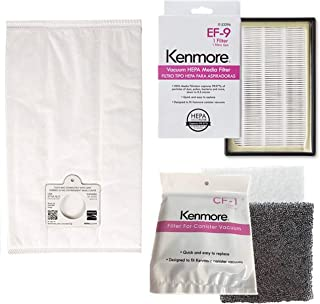 Ultra Care 6 +1+1 Pk OEM Replacement for Kenmore Type C/Q HEPA Filtration Canister Vacuum Bags, 1 Kenmore CF1 81002 Motor Chamber Filter, 1 Kenmore EF9 53296 HEPA Exhaust Filter, Fits Elite 21814