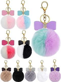 10 Pieces Bow Rhinestone Pom Pom Keychain Keyring Fluffy Ball Key Chain Faux Fur Ball Pompoms Keychains for Girls Women