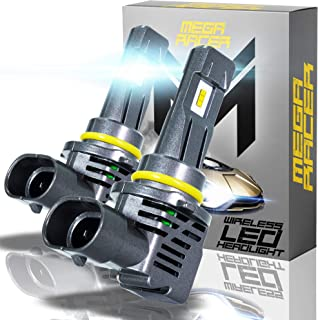 Mega Racer Wireless 9005/HB3/H10/9145 LED Headlight Bulbs - 50 Watt 6500K Daylight White 12000 LM ZES CSP Chip IP68 Waterp...