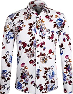 APTRO Men's Flower Casual Button Down Long Sleeve Shirt
