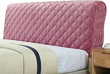 Headboard Cover/Bed Headboard Slipcover Protector with Stretch Side and Pocket Solid Color Dustproof Cotton Cover for Twin Fu