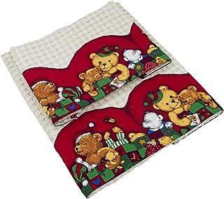 Tina Codazzo Baby coppia di asciugamani per bambini in piquet di cotone beige Orsetti natalizi.