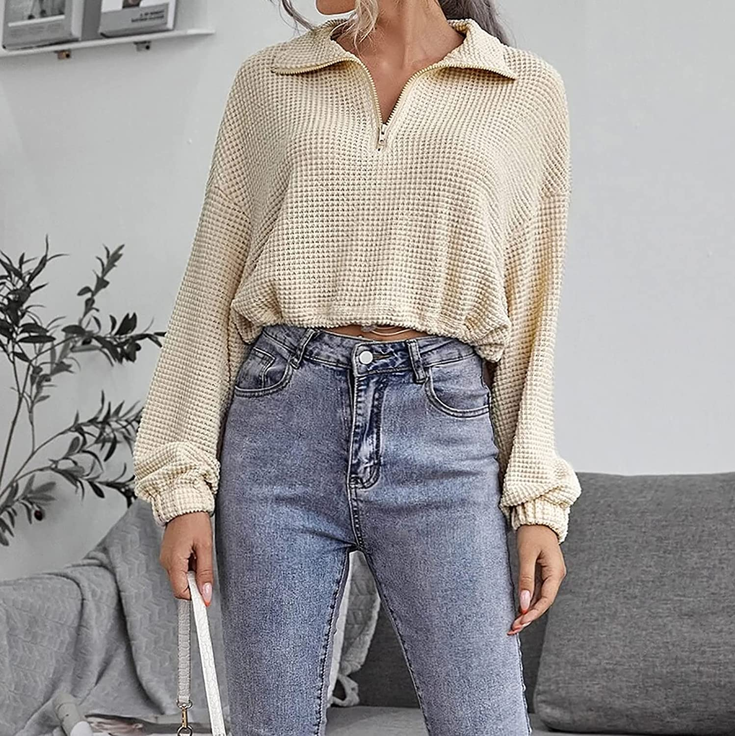 Crop Tops for Women Fashion Short Sweater Cardigan V-Neck Zipper Lapel Long Sleeve Knitted Pullover