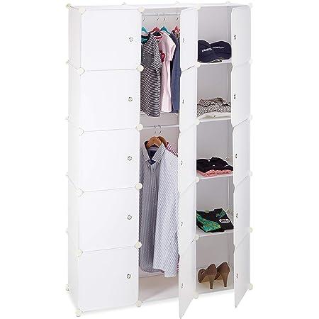 Relaxdays Étagère cubes rangement penderie armoire 11 casiers 2 tringles plastique modulable DIY, Blanc, 37 x 110 x 181 cm