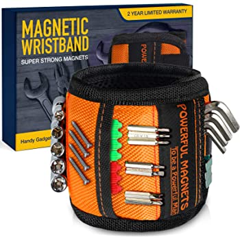 Magnetic Wristband for Holding Screws, Fathers Day Gifts for Dad, Gadgets for Men,Gifts for Men DIY Handyman,Carpenter, Repairman,Dad, Husband, Boyfriend, Mens Gifts,Surprise for HIM,15 Magnets