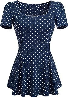 HOMEYEE Women's Vintage Square Neck Long Sleeve Peplum Tops Blouse 542