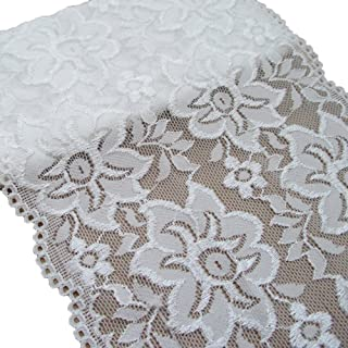 3 Yards Stretch Lace Trims Elastic Fabric For Garment And DIY Craft Supply (White)