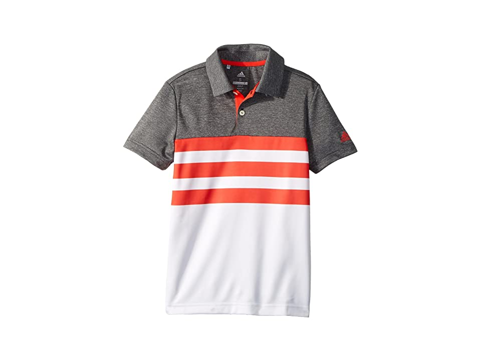 Image of adidas Golf Kids 3-Stripe Fashion Polo (Big Kids) (Hi-Res Red) Boy's Clothing