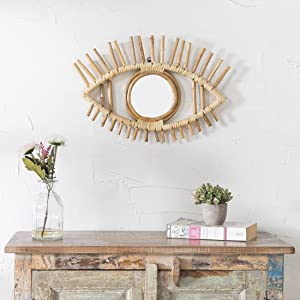 Madhu international Eye Shaped Rattan Wall Mirror - Rustic Natural Rattan Wall Decor Made from Bamboo for Living Room, Bedroom, Bathroom, Entryway, Nursery , Dressing Room (Eyes - Frame 33cm)
