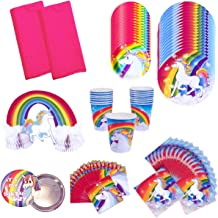 Rainbow Unicorn Birthday Party Supplies Pack Bundle Kit Includes Dinner Plates, Dessert Plates, Cups, Large and Small Napkins, Table covers and Centerpiece - Serves 16 People
