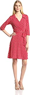 Women's Three-Quarter-Sleeve Faux Wrap Dress