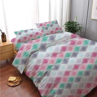 Geometric Comfortable 4 Piece Bedding Set,Abstract Horizontal Diamond Forms and Featured Little Dots Soft Colored Pattern Decorative for Bedroom,Double Side Print:Double