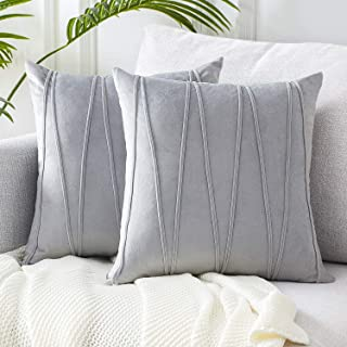 Top Finel Decorative Hand-Made Throw Pillow Covers Soft Particles Velvet Solid Cushion Covers 20 X 20 for Couch Bedroom Car, Pack of 2, Grey